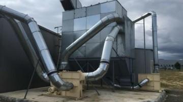 Por- és forgácselszívó rendszer 22.500 m3/h légmennyiséghez